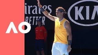 Tomas Berdych v Rafael Nadal on-court warm up (4R) | Australian Open 2019