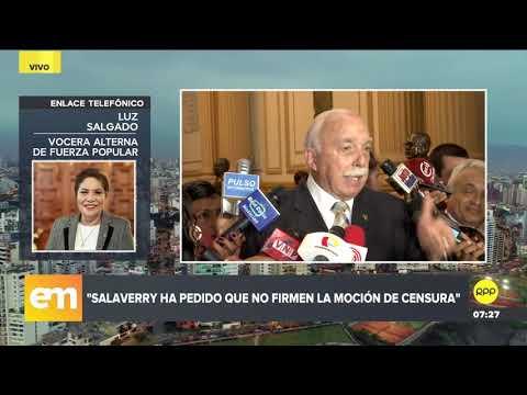 Luz Salgado admite que 'no tienen los votos' para censurar a Daniel Salaverry
