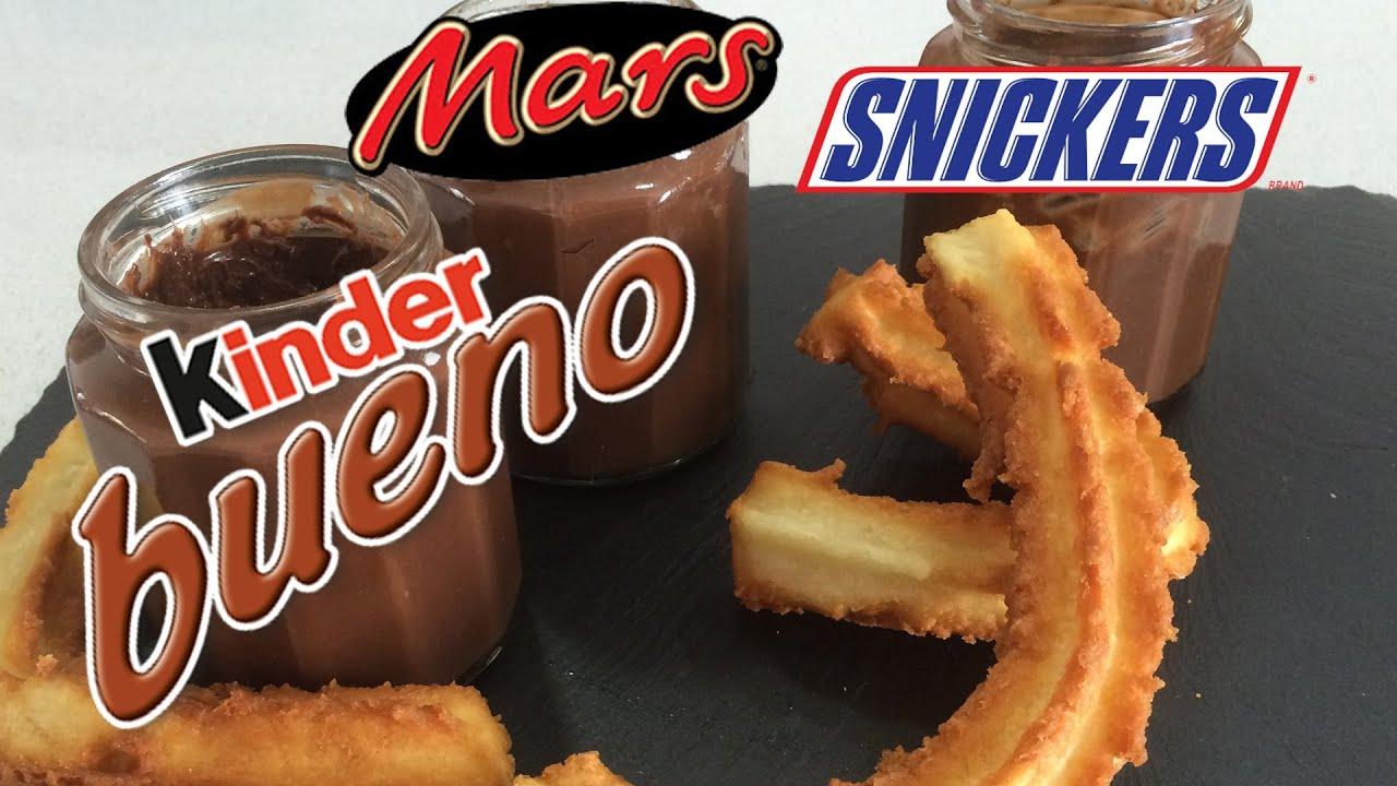 Churros à tremper dans une pâte à tartiner saveur Kinder/Mars/Snikers - Le Carré Gourmand