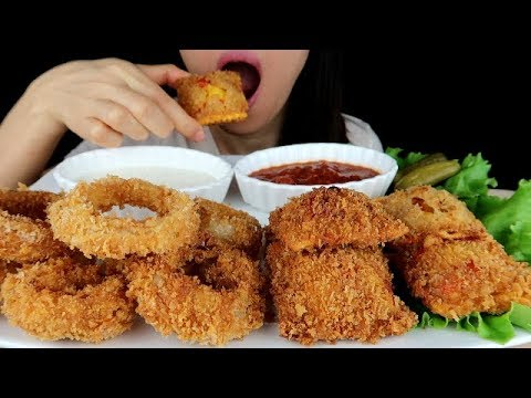 ASMR Deep Fried Lobster Ravioli & Onion Rings *No Talking Eating Mukbang