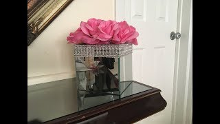 DIY GLAM MIRRORED FLOWER BOX WITH DOLLARSTORE PRODUCTS