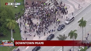 Chief asks downtown businesses to close early amid Miami protest