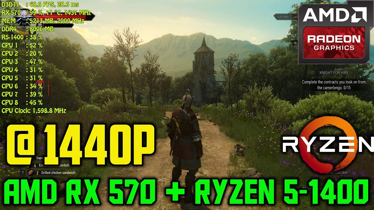 AMD Ryzen 5-1400 + RX 570 8GB Tested @ 1440p | Witcher 3 - Ultra Settings