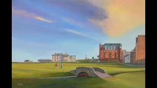 St Andrews 18th, Acrylic painting (EoghanArt 2019)