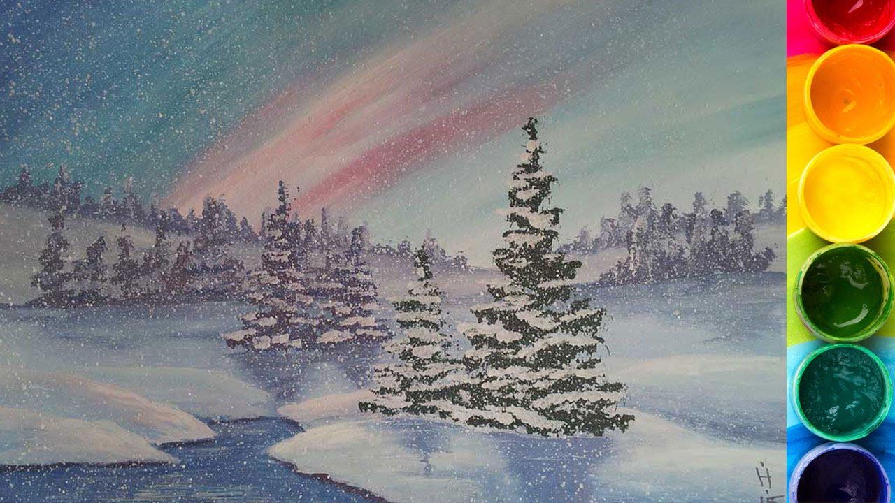 Примеры по рисованию зимнего пейзажа красками, цветными карандашами и фломастерами.
