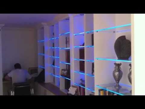 Bookcase With Led Glass Shelf Lights Youtube