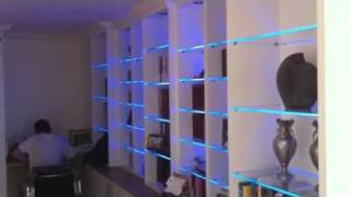 Bookcase With Led Glass Shelf Lights