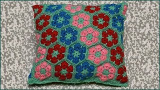 Африканский цветок крючком. Вязание крючком подушки. Подушка крючком. Цветок крючком. Crochet Pillow