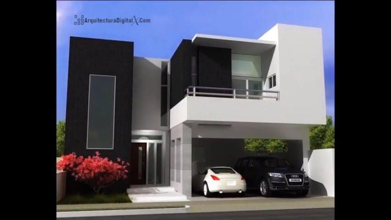 Fachadas de casas modernas dise os en 2 plantas youtube for Casa minimalistas