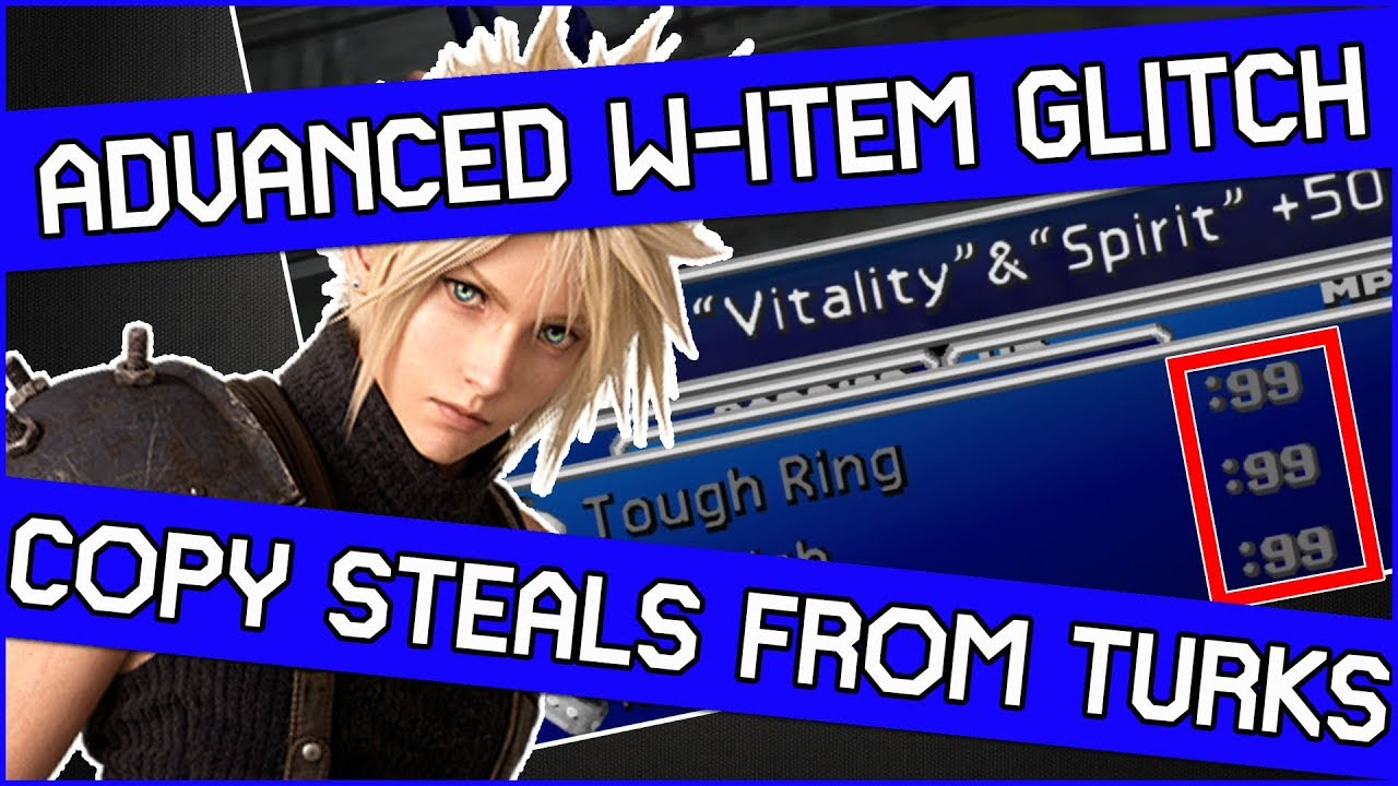 Ff7 Guide Using The W Item Glitch To Copy Steals From Enemies In Final Fantasy 7 Youtube