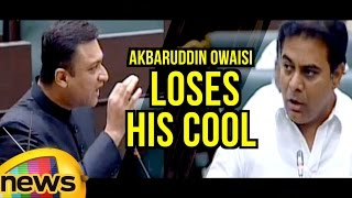 Akbaruddin Owaisi Loses His Cool In TS Assembly | Combat Of Words KTR Vs Owaisi | Mango News