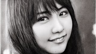 鉛筆画 有村架純 完成までの一部始終 動画 早送り / Pencil drawing/ Kasumi Arimura/ Portrait/ How To Draw thumbnail