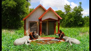 Build Mud Villa & Dig Ground To Search Underground Water And Build Fish Pond For Ornament (full)
