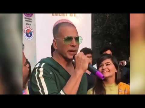 akshay kumar  in Delhi University Arts Faculty\\ speech at Pad Man Movie promotional event