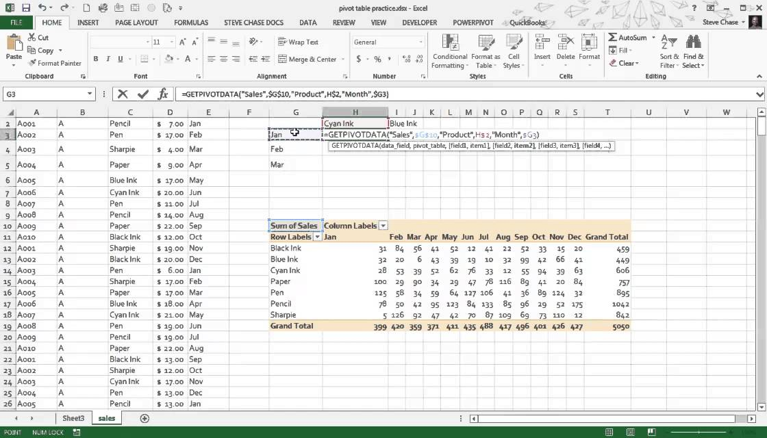 Excel getpivotdata example