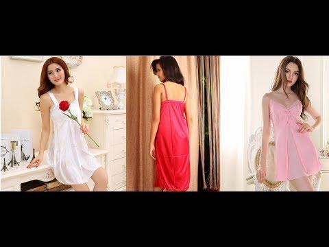 pink-set-robes-sexy-sleepwear-bridal-nightgown-dress-silk-nighty-||new-2018