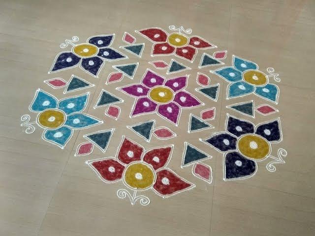 KOLAM RANGOLI DESIGNS WITH DOTS/Muggulu rangoli with dots/Sankranthi muggulu/21 dots rangoli/Rangoli