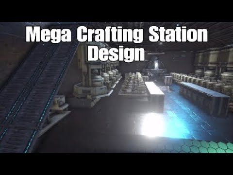 Ark Builds-Mega Crafting Station Design *CRAFT 100K BULLETS EASY*