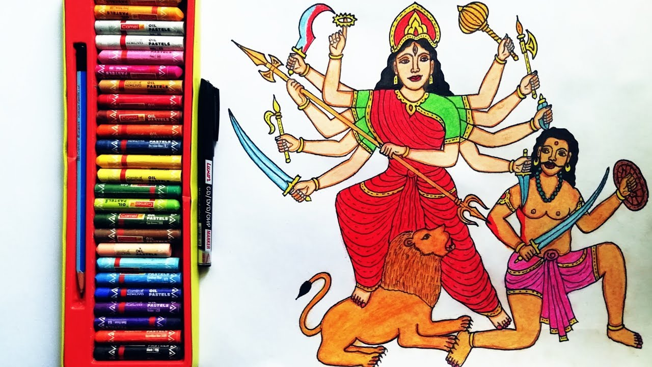 How To Draw Durga Mata Step By Step Durga Mata Drawing By Drawing Art Youtube