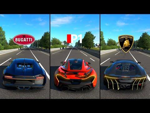 Fmotorsport 7 Drag Race: Bugatti Chiron Vs Mclaren P1 Vs Lamborghini Centenario (Stock)