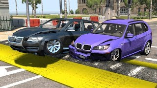 Beamng drive - Large speed bumps car Crashes