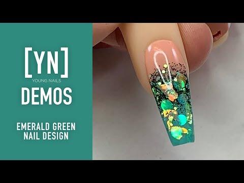 Young Nails Nail Demo , Emerald Green Nail Design , Acrylic