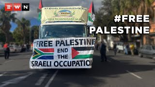 Hundreds of pro-Palestinian protesters marched to Parliament in Cape Town on 12 May 2021 demanding that the South African government do more to help people in Palestine after renewed violence between the Israeli military and Palestinian militants in Gaza, which has led to multiple fatalities.