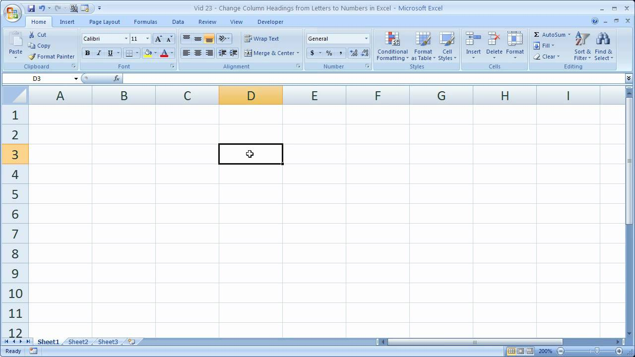 Excel Tips 23   Change Column Headings from Letters to Numbers in