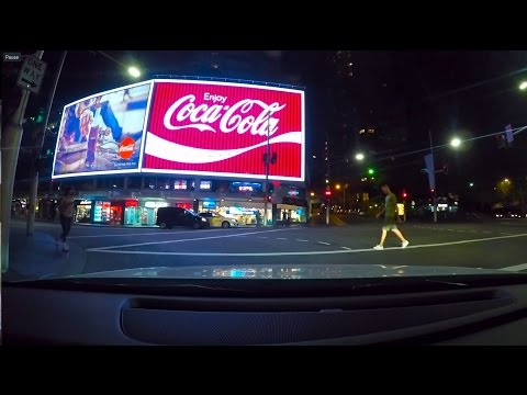 Night Time Drive Through Kings Cross And Sydney Harbour Bridge