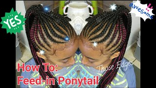 #5. How to: FEED-IN GENIE PONYTAIL with a dab of red & swirled edges. Braided Ponytail.