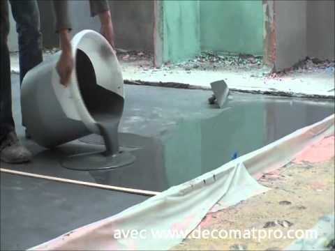 B ton cir coul avec d comat 39 pro youtube for Terrasse beton cire exterieure