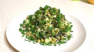 Постный картофельный салат с морской капустой.