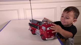Joey plays with Red Fire Truck