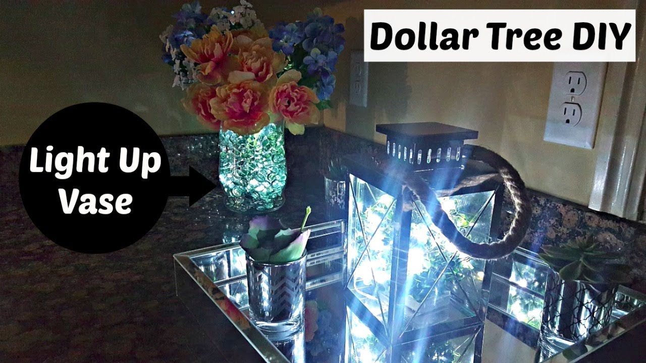 Diy Glowing Floral Vase Dollar Tree Walmart Flower Centerpiece Home Decor Craft Youtube