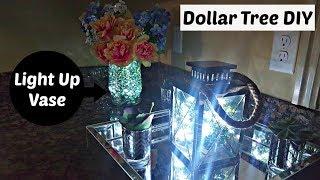 DIY Glowing Floral Vase - DOLLAR TREE & Walmart | Flower Centerpiece Home Decor Craft