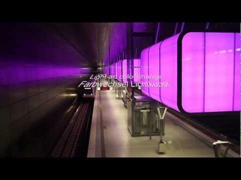 Light art at subway station U4 Hafencity Universität Hamburg [HD]