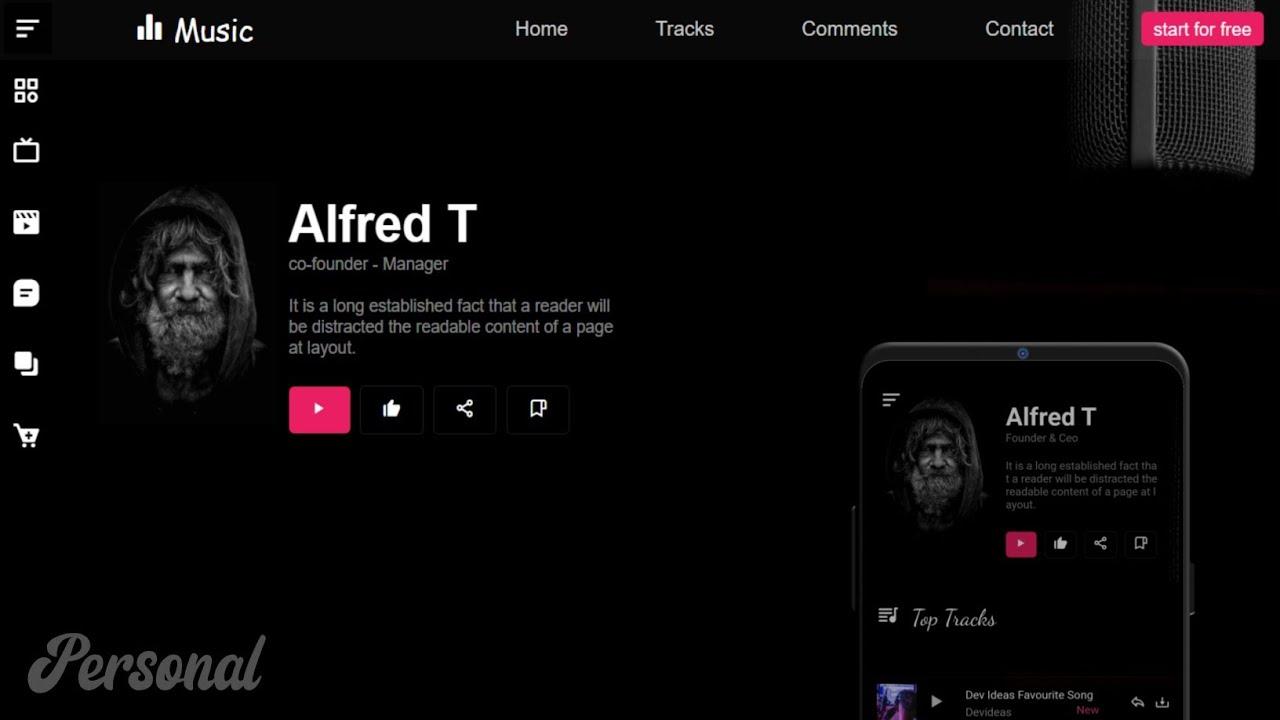 How to create Responsive Music Website Using JavaScript