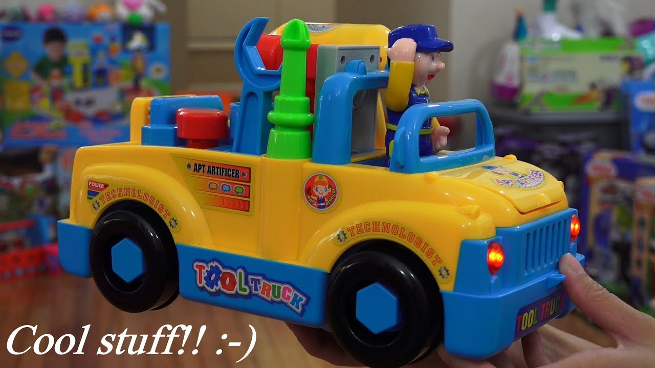 Cool Toy for Toddlers and Kids Bump & Go Tool Truck Toy w Lights