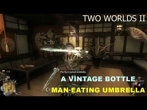 TWO WORLDS II A VINTAGE BOTTLE   MAN EATING UMBRELLA  