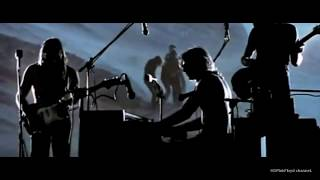 Pink floyd performing at the ancient roman amphitheatre in pompeii, italy. although band perform a typical live set from era, there is no audience be...