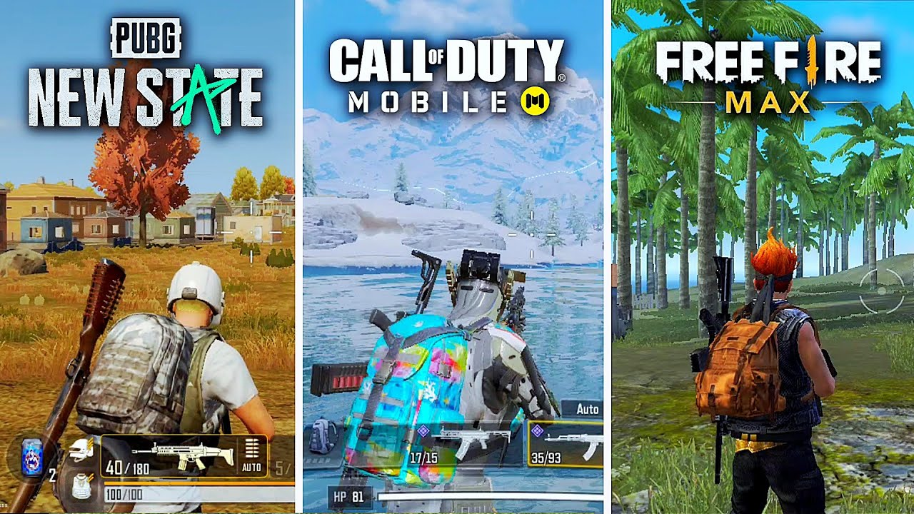 🔥 PUBG New State VS Call of Duty Mobile VS Free Fire MAX 🔥 Comparison - Which is best for mobile?