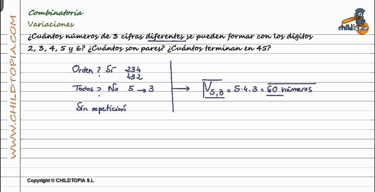Combinatoria: Variaciones. 4º de ESO matemáticas - YouTube