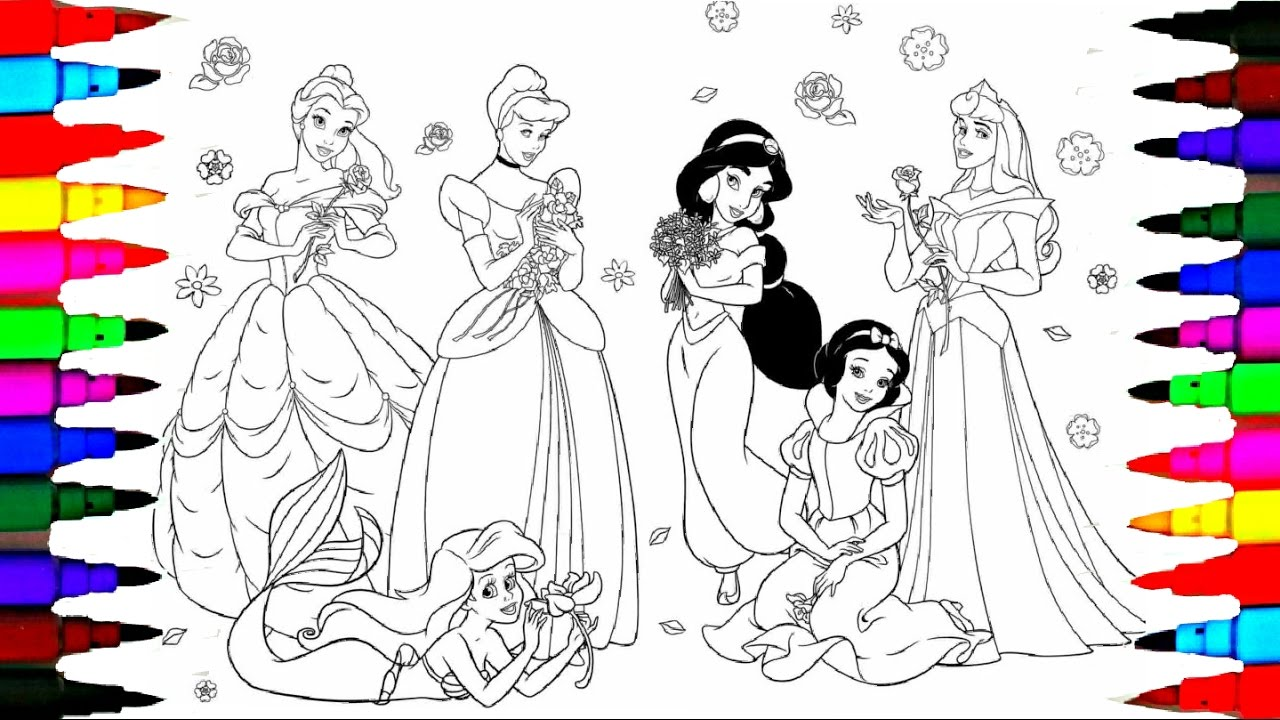Disney Princess Jasmine Cinderella Belle Moana Drawing Pages To ...
