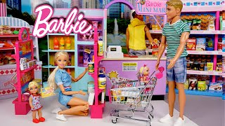 Barbie & Ken Family Evening Routine - Supermarket Grocery Shopping & Babysitting