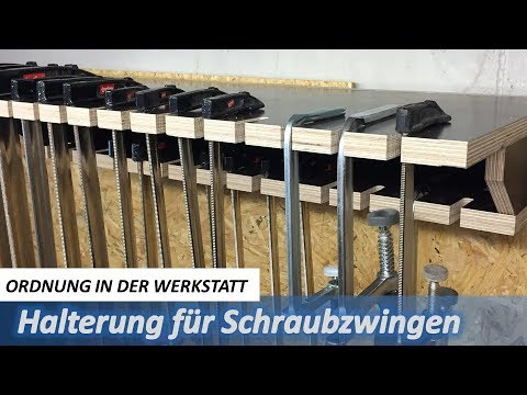 halterung f r schraubzwingen how to store clamps youtube. Black Bedroom Furniture Sets. Home Design Ideas