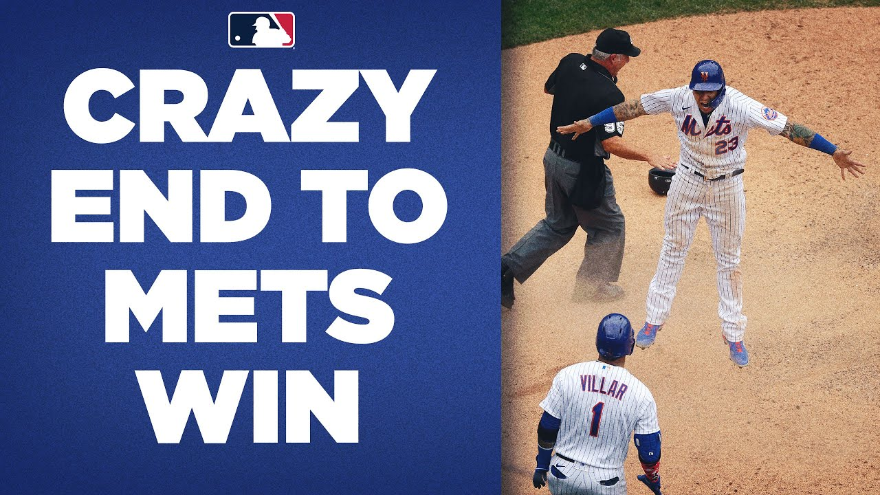 Javy Báez RACES around bases to score winning run   Mets win WILD one in 9th against Miami!