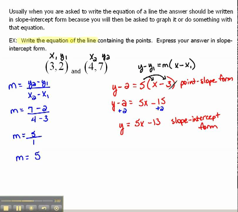 Write An Equation Of A Line In Slope Intercept Form 16 Youtube
