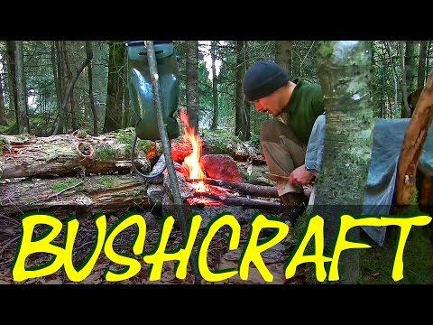 Bushcraft Doku - Übernachtung im Camp, Herstellung von Gegenständen aus Rinde und Kochen im Wald