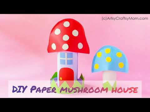 TP Roll Mushroom House | Fairy Crafts | Miniature Village | Paper Crafts for kids | ArtsyCraftsyMom