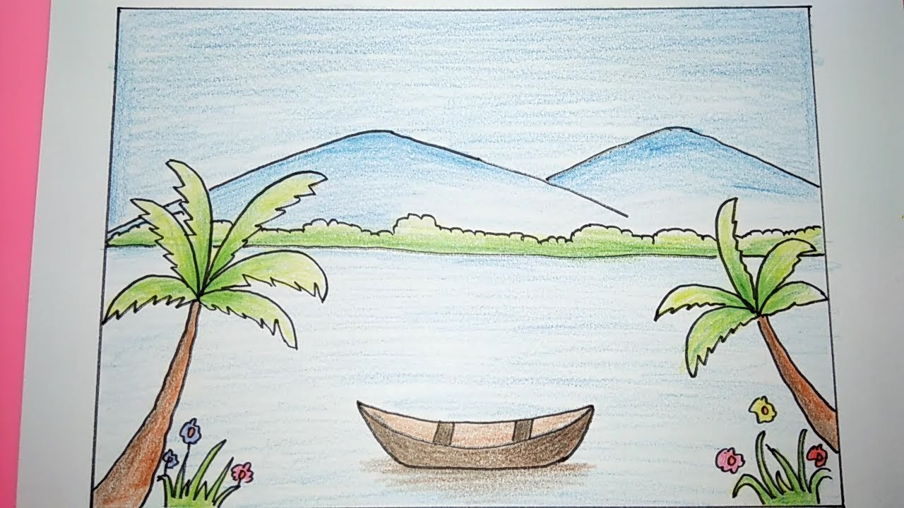 Menggambar Dan Mewarnai Pemandangan Alam Gunung Fuji Cute766
